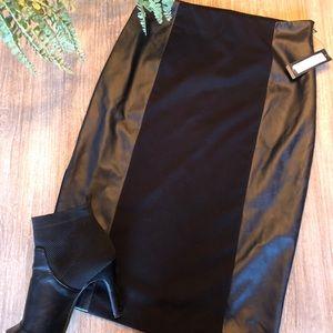 Worthington black pencil skirt with leather sides